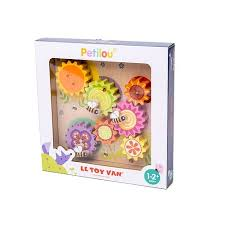 A wooden gear toy with colorful pieces and bees.
